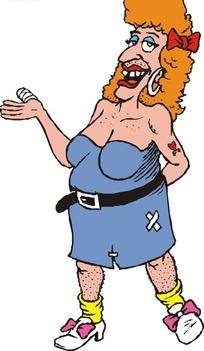 手绘橙色头发的肥胖外国女人