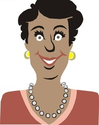 手绘微笑的黑人女士上半身