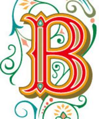 藤蔓花纹上古典的英文B