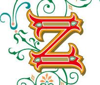 优雅叶蔓花纹上的字母Z