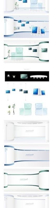 简洁科技白电脑展厅设计效果图素材模版