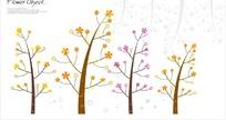 可爱的黄色花树和粉色花树