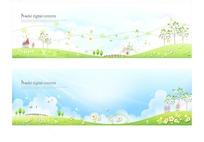 草地蓝天白云花朵树木卡片设计