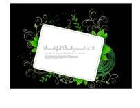 长方形边框和绿色卷草叶子黑色背景