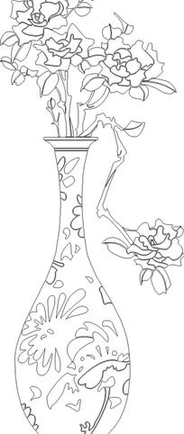 工笔画精美花瓶里的花朵