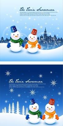 手绘夜空雪地圣诞雪人