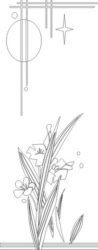花朵盛开的植物线描图