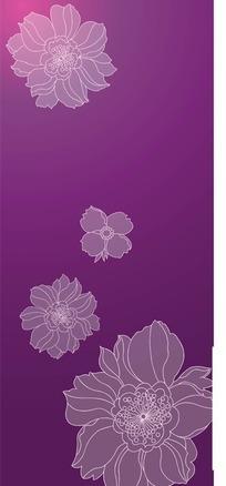 紫色背景上的手绘花朵