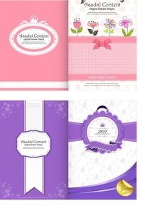 可爱花朵粉色和紫色卡片封面设计
