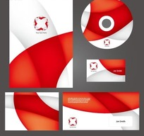 现代红色简约线条的vi视觉识别系统