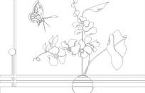 线条与花瓶里的花朵与蝴蝶线条图