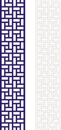 正方形宝蓝色中式万字纹图案窗格镂空花纹矢量图_其他