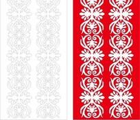 长方形里的红色对称花纹和线描图