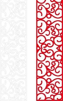 长方形里的红色花纹和线描图