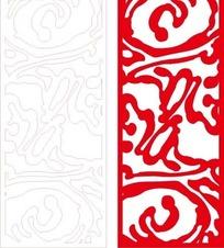 长方形里的红色弯曲花纹和线描图