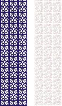 长方形里的蓝色对称镂空图案和线描图
