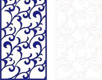 长方形里的蓝色弯曲花纹和线描图