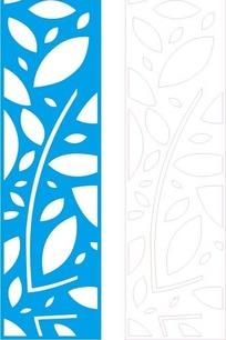长方形里的蓝色叶子状花纹和线描图
