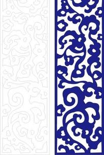 长方形里的弯曲花纹和线描图