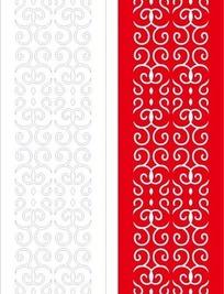 红色长方形里弯曲的花纹和线描图