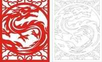 红色中式龙纹图案窗格镂空花纹