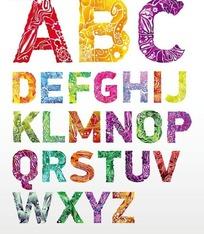 花卉叶子星星不规则图案的英文大写字母字体设计图片