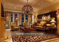欧式贵族华丽客厅效果图