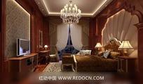 欧式酒店卧室效果图