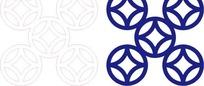 宝蓝色中式铜钱图案镂空花纹