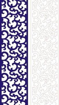 长方形里的蓝色弯曲镂空花纹矢量图