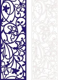 长方形里弯曲的宝蓝色镂空花纹矢量图