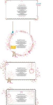 粉色精美小碎花和梯子装饰的信纸