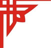 古典红色对称的边角纹样矢量图