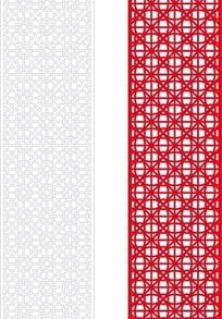红色简单中式花与线条组合镂空花纹图案
