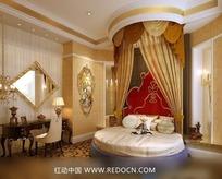 欧式奢华大圆床卧室效果图