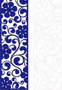 手绘长方形里的古典蓝色花纹