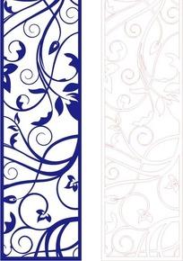 手绘长方形里的蓝色古典花纹