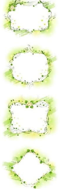 四款绿色系花朵藤蔓边框AI素材