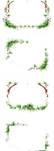 边角装饰着植物的边框