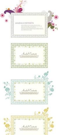 精美花朵卷藤围绕的简洁卡片
