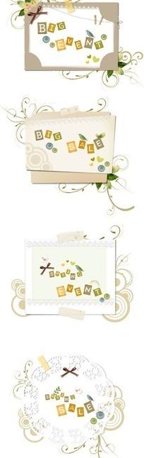精美卷藤圆圈装饰的简洁卡片设计