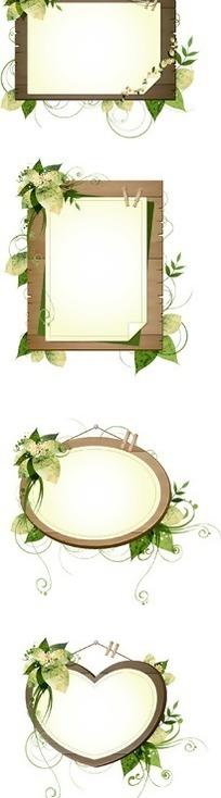 精美绿色叶子和藤蔓装饰的木质相框