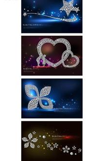 炫丽闪亮花朵心形星星背景设计