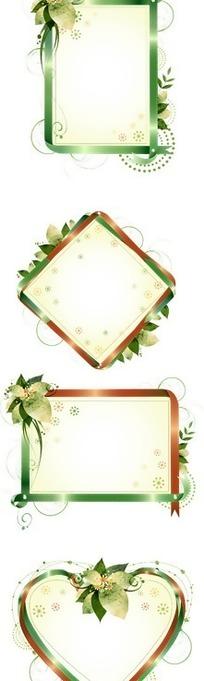 绿色花朵装饰的彩色边框矢量图
