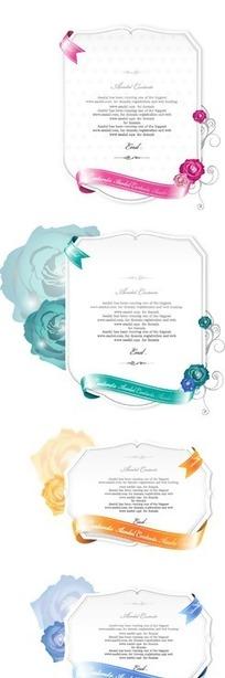 手绘各种美丽花朵和彩带装饰卡片