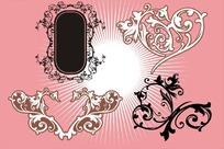 粉色背景上的古典花纹和边框矢量图