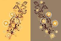 咖啡色和黄色背景上的对称花纹矢量图