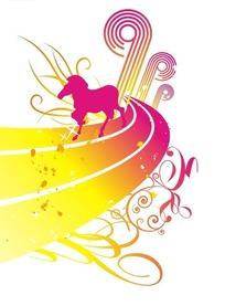 暖色调曲线上飞奔的马和花纹