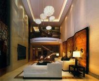 欧式大气跃层式小公寓客厅效果图