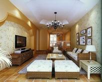 欧式花纹壁纸客厅效果图